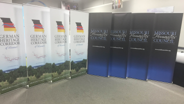Banner stands celebrating German Heritage!