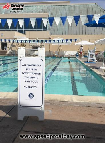 Poolside mini A-frame sign