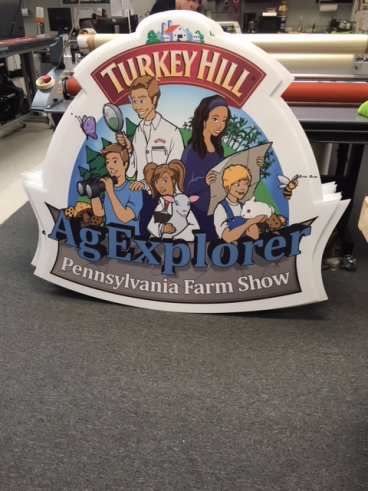 Large cut-out coroplast sign done on our Esko cutter/routing machine for the PA Farm Show