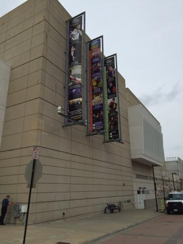 Installation of new banner at the Eisemann Center complete.