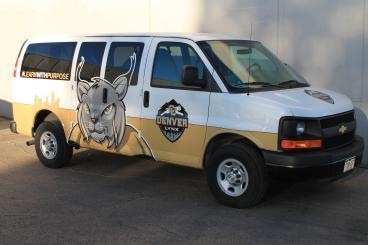 Van vehicle wrap for CU Denver, CO