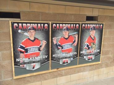 Baseball Senior Banners at John Paul II High School in Plano, Texas