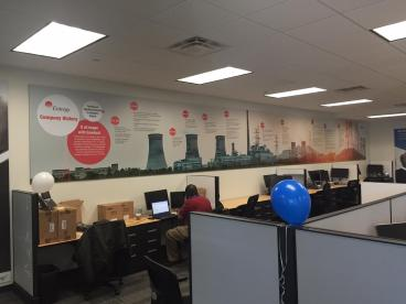40' long mounted timeline for HCL America in Frisco, Texas!.
