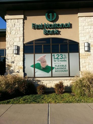 Window graphic messaging and marketing for First National Bank located in Frisco, Texas!!