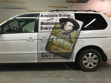 Vehicle graphics promoting an upcoming book!