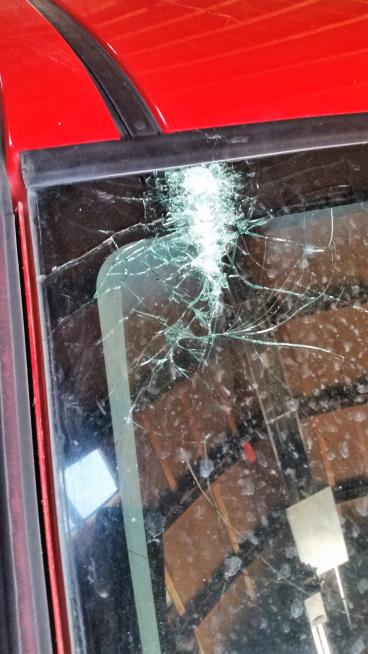 A bird hit the antenna, which hit the window and created this.  What are the odds! Thumbnail