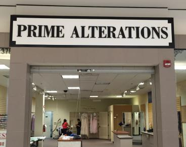 New sign to announce Prime Alterations' new location in the South County Mall!