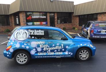 Two Ladies & a Bucket - PT Cruiser's new wrap!