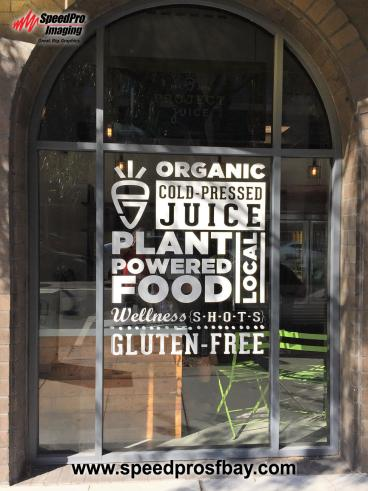 Retail window graphics - Project Juice, Palo Alto CA