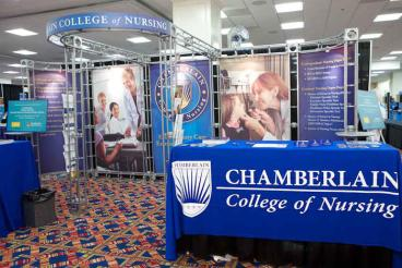 Trade Show Booth with Table Throw - Chamberlain College of Nursing