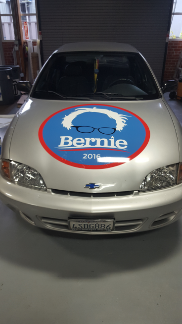 Front view of the Bernie decal Alameda