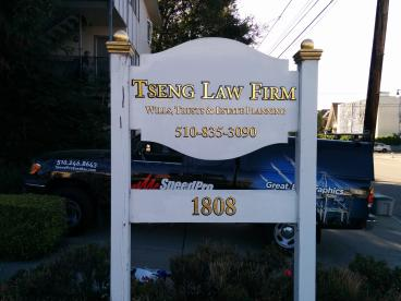 Tseng Law Firm sign with gold leaf lettering