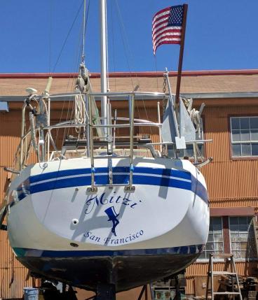 Mitzi boat lettering Alameda