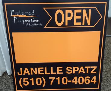 Real Estate sign with blank space for addresses