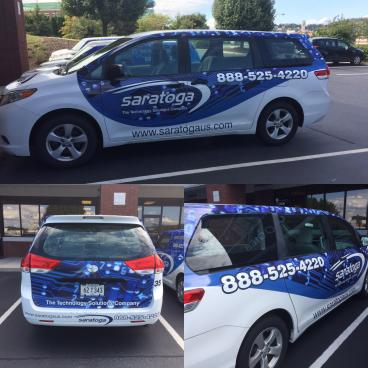 Another great looking van wrap for Saratoga Technologies in Johnson City!