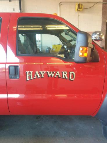 Gold leaf lettering for Hayward Fire department vehicles