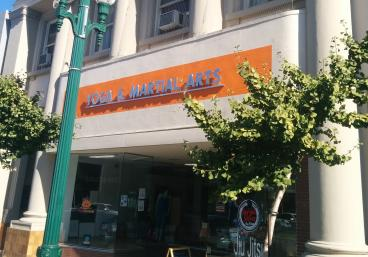 Yoga Alameda & Martial arts raised lettering & window decals