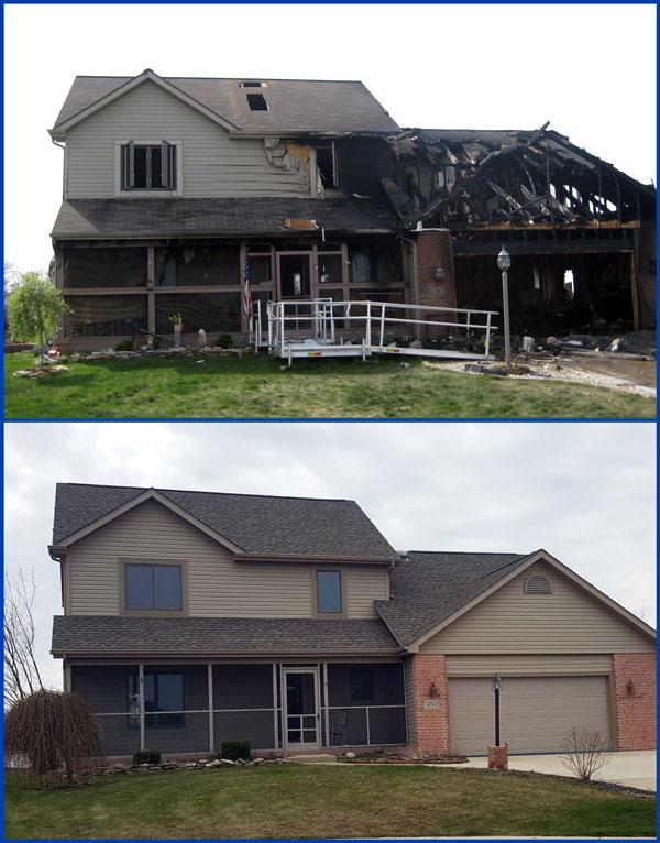 Home Fire Restoration before and after