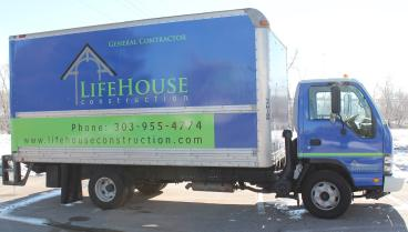 LifeHouse Construction box truck wrap Denver, CO