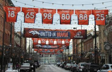 banners Bronco's Playoff Win Celebrated Denver, CO