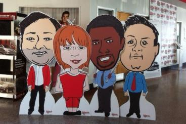 Custom Floor Standees for an Auto Dealership Showroom
