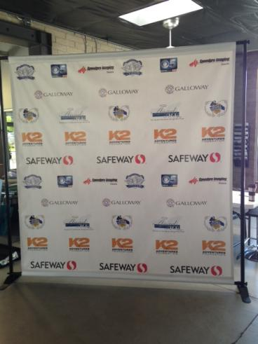 8 x 8 Step and Repeat Banner with Black Frame.