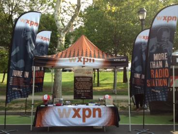 WXPN Flags, Event Tent, and Table Throw
