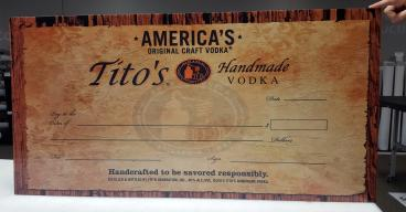 Tito's Handmade Vodka giant check