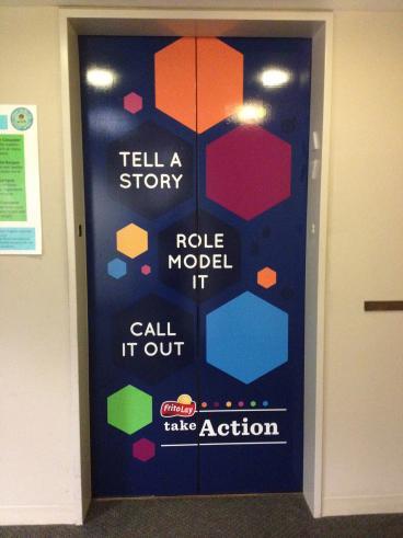 Frito Lay, Elevator Graphic, Internal Marketing, Corporate Branding, Dallas, TX