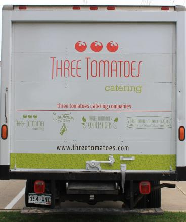 decals Denver, CO three tomatoes catering truck