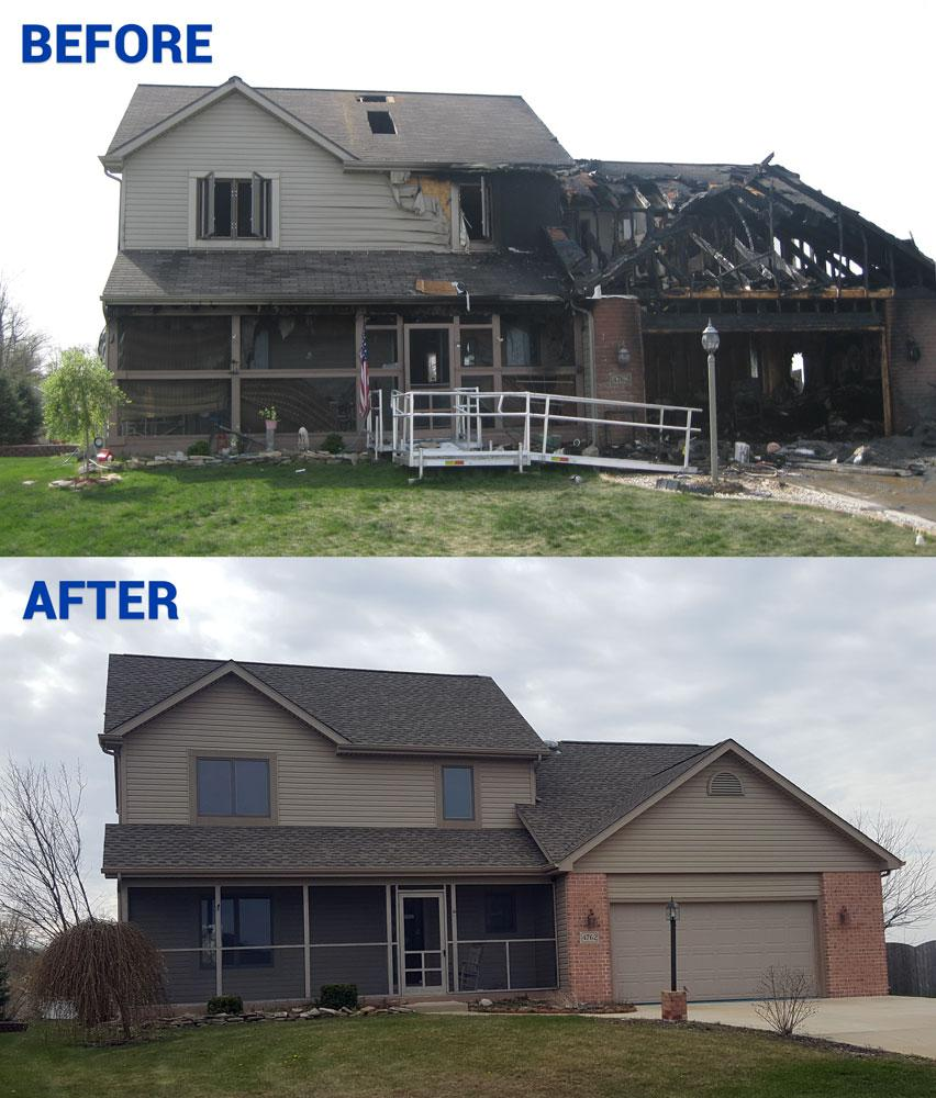 Fire restoration before and after