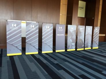 Event Retractor Stand Graphics, Corporate Branding, ExamSoft, Dallas, TX
