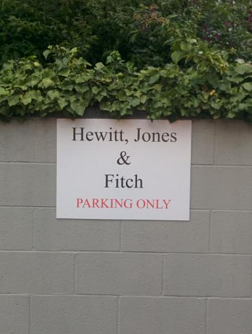 Hewitt, Jones & Fitch parking sign