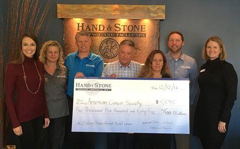 American Cancer Society Check Donation from Hand & Stone