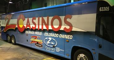 johnny z casino bus wrap denver, colorado