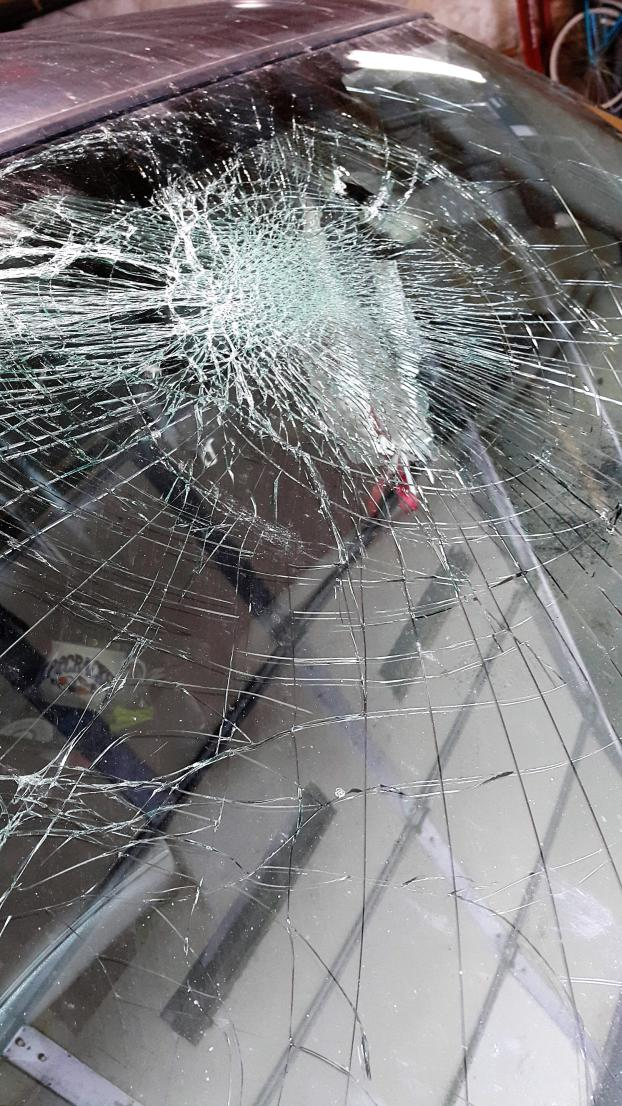 It's very dangerous to drive with a windshield like this.