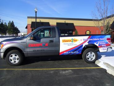 Champion Windows partial truck wrap