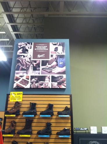 Retail display for Danner LaCrosse - canvas wrap print