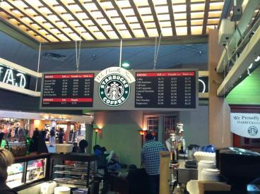 Hanging menu board in the CDA mall