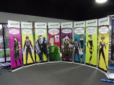 Sterling International Super Hero banner stands