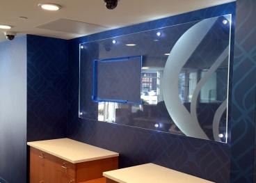 Custom Digital Wallpaper with Acrylic Surround and Dusted Crystal logo finish