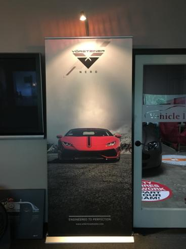Vorsteiner Retractable Banner Stand with Light