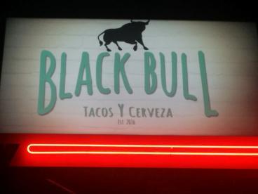 Black Bull taco sign Alameda