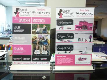 Damsel In Distress Small Table Top Retractable Banner Stands