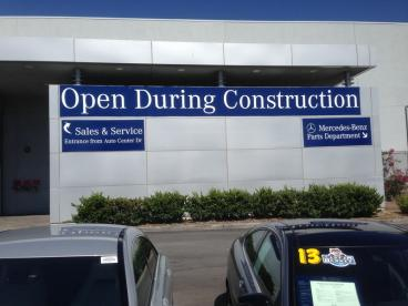 Sage Mercedes Benz Open During Construction Banner