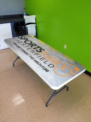 Vinyl decal on party table for Sportsfusion