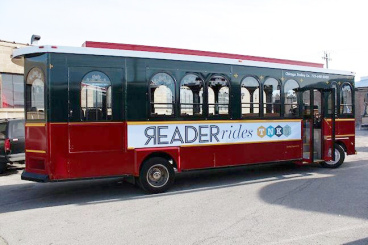 Reader Rides Ad on Chicago Trolley