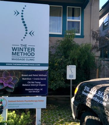 The Winter Method Massage parking sign Oakland