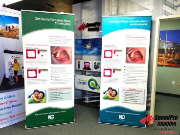 Double Sided Banner Stand for NC Public Health