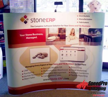 Curved Trade Show Display for Stone ERP